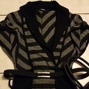 Adorable Gray & Black Knit Striped Dress